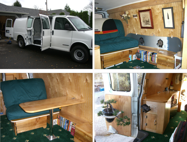Sometimes you need to sleep where you're not supposed to. In this case, [MisterE] wanted to cut the costs associated with his climbing trips. He took a 2001 GMC Savana cargo van and turned it into a s...