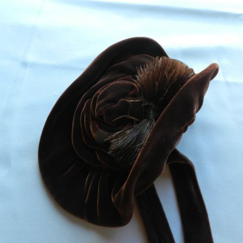 Antique ,vintage silk velvet ,ostrich feathers trim hat , for big doll