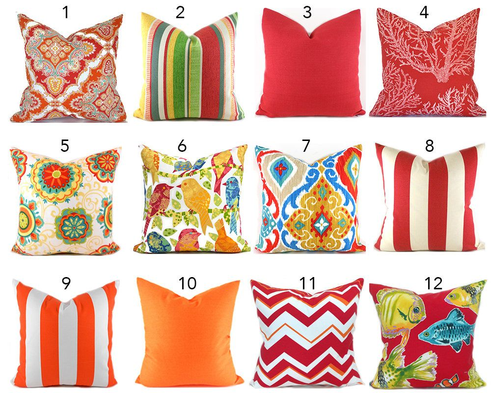 Red Outdoor Pillows ANY SIZE Outdoor Cushions Outdoor Pillow Covers