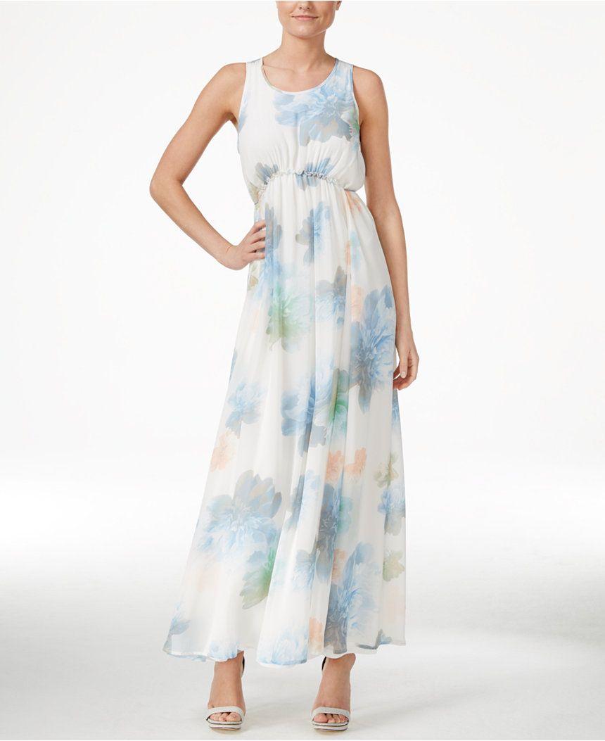 Calvin Klein Empire-Waist Floral Maxi Dress