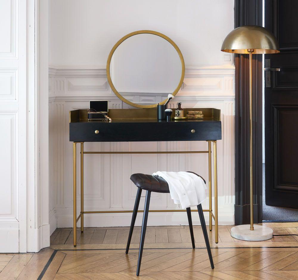 Kaptafel Van Goudkleurig Metaal En Zwart Massief Acaciahout Met 1 Laatje Dressing Table Modern Modern Vanity Table Dining Table Decor