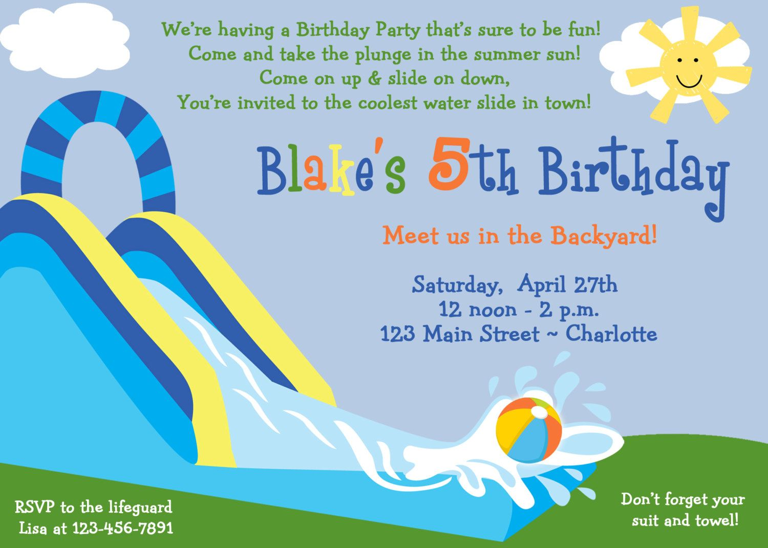 Waterslide Party Birthday Invitation Pool Party
