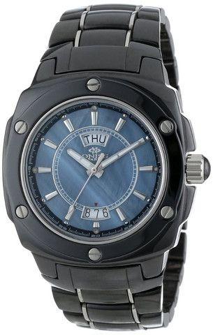Oniss ON436-M/BK Men's Watch Black Ceramic Blue MOP Dial With Genuine Diamonds