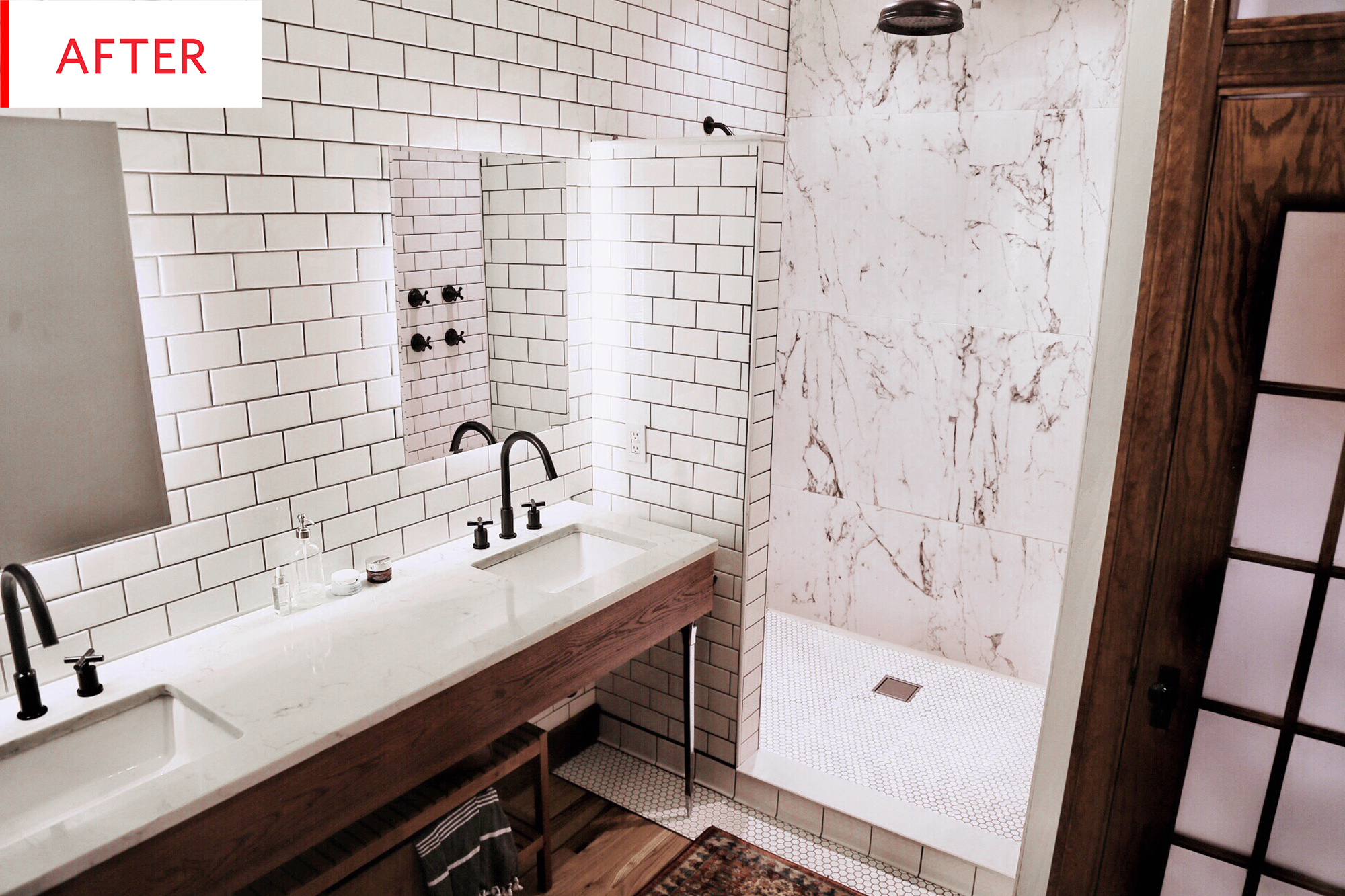 Before and After This $3K Bathroom Redo Feels More Like $50K I love this whole bathroom so much