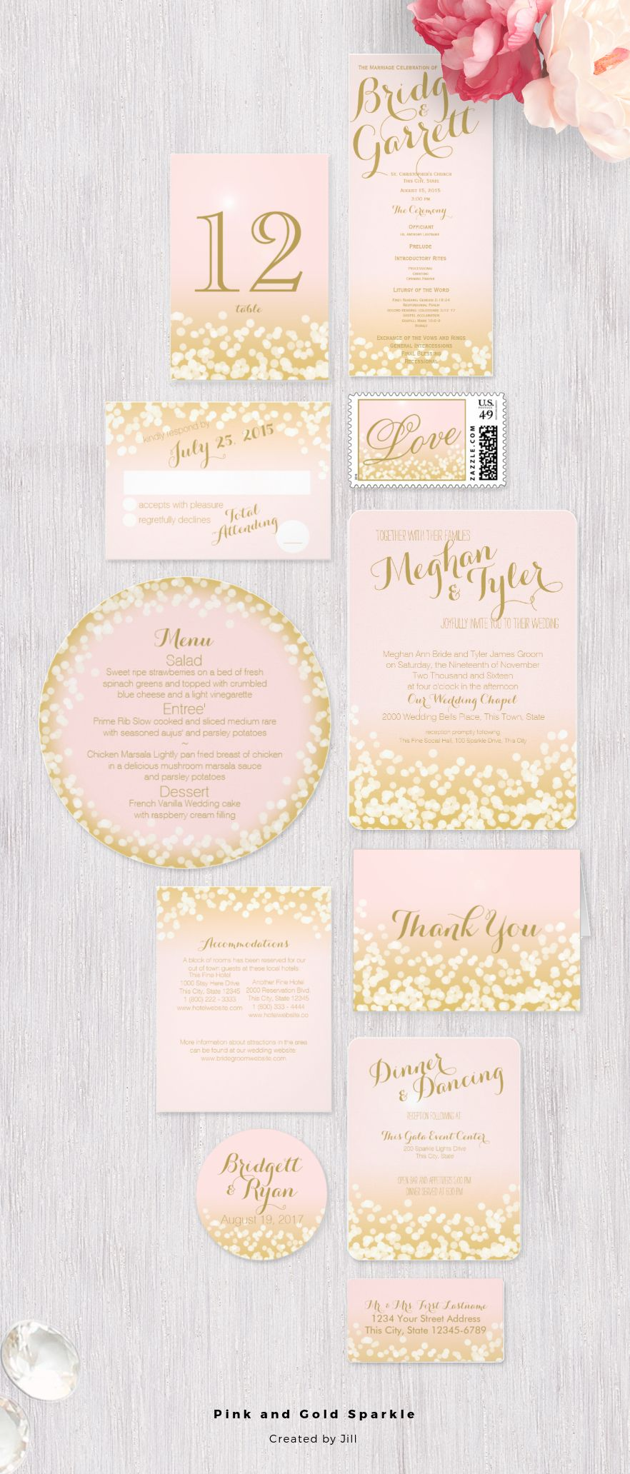 pink and gold sparkle light effect wedding invitation design suite