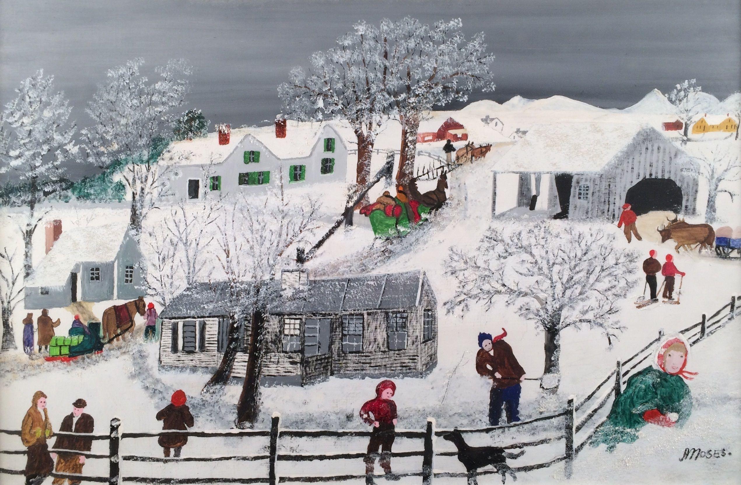 Grandma Moses ~ In Snow Drift - Artblog   Humor Myself; or, Good Art ...