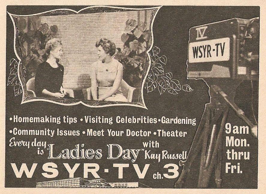 Publicidad de WSYR TV, década del 50.