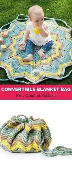Convertible Blanket Bag pattern by Yarnspirations Design Studio #babyblanket