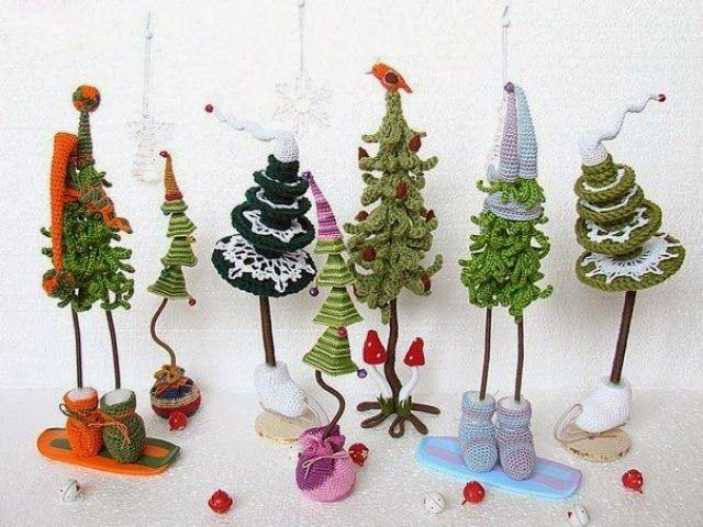 Patrones Crochet: Arboles de Navidad Cadenetas de Crochet | Елочки ...