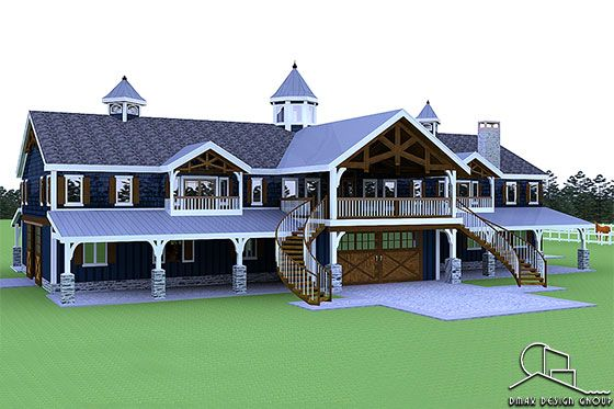 Horse Barn with Living Quarters Floor Plans
