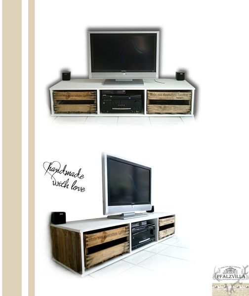 tv board schrank aus alten weinkisten upcycling von pfalzvilla dinge mit seele charakter. Black Bedroom Furniture Sets. Home Design Ideas
