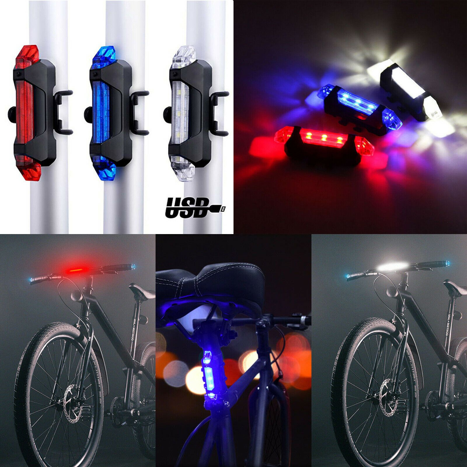 5 Led Bike Tail Light Usb Rechargeable Bicycle Rear Light Night
