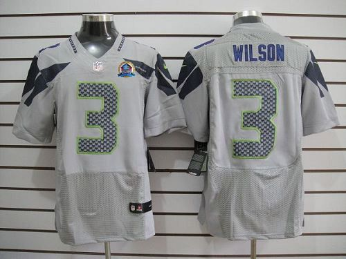 best website 3ecb1 d3baa NEW Seahawks #3 Russell Wilson Grey With Hall of Fame 50th ...