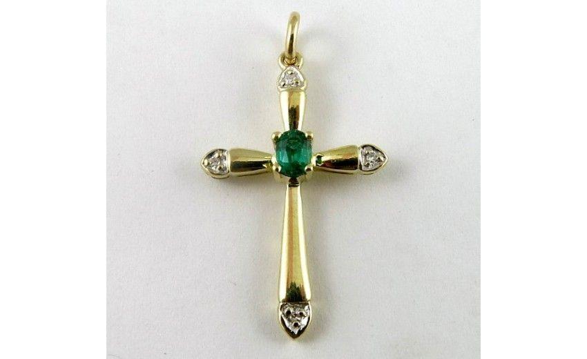 1747896-9ct-gold-diamond-and-created-emerald-cross-crucifix-pendant-0.jpg (850×520)