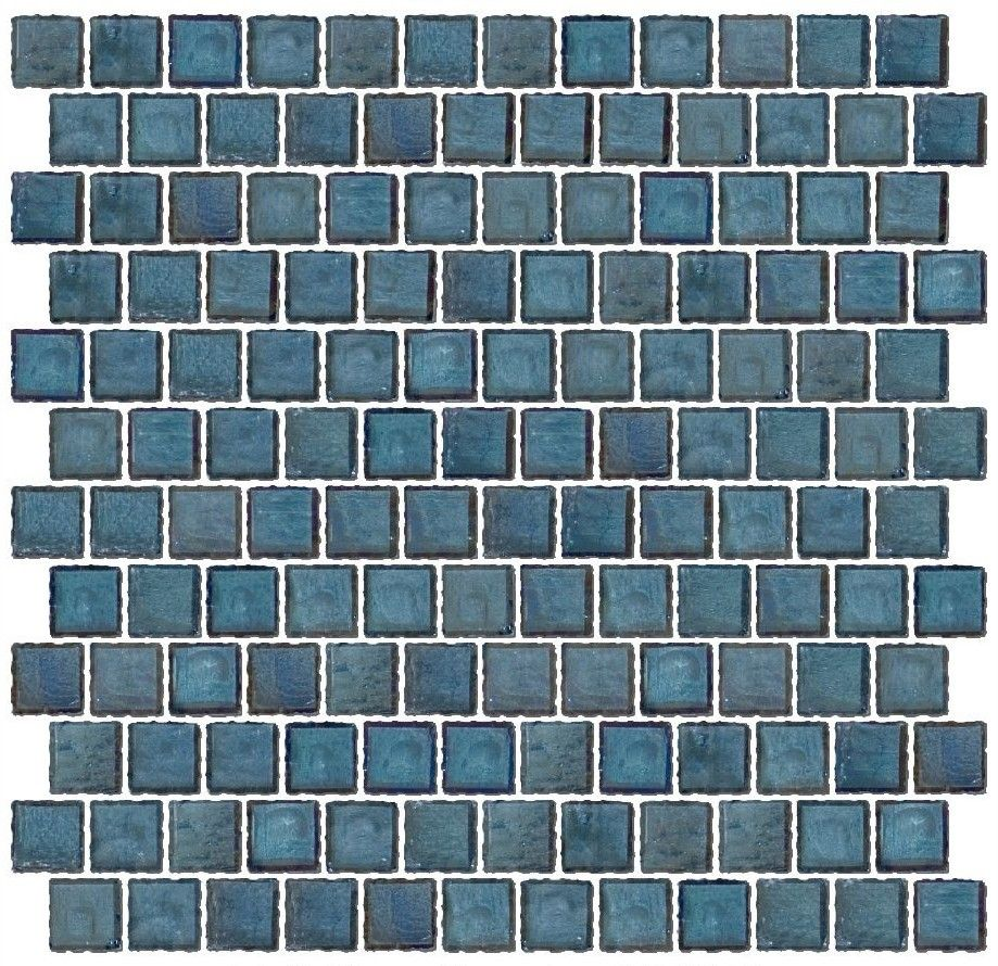 1 Inch Iridescent Denim Blue Glass Tile Reset In Offset Layout ...