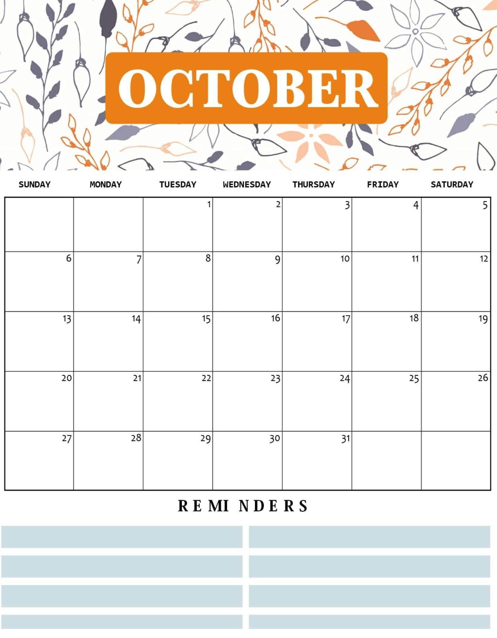 Cute October Calendar Printable Floral Wall Design