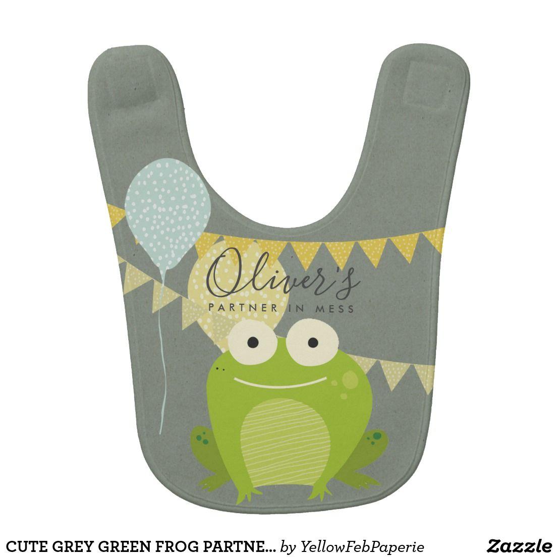 Cute Grey Green Frog Partner In Mess Celebration Bib Cute Elegant