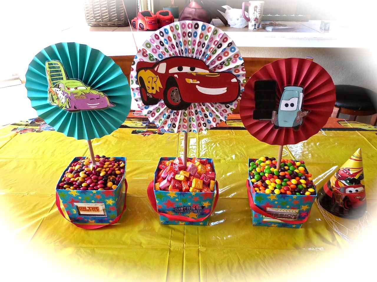 centerpiece for transportation party Lightning McQueen Cars Party