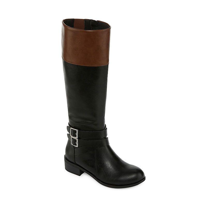 6133138b19e Arizona Womens Denmark Wide Calf Riding Boots Block Heel Zip ...