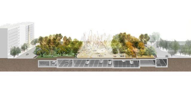 West 8 Urban Design Amp Landscape Architecture Projects Sagrera Linear Park Linear Park Streetscape Design Parking Design