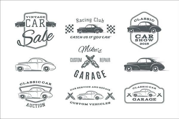 Vintage, classic car service labels by Aleksandrs on