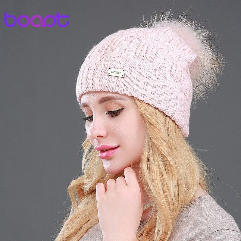 BOAPT Double-deck Knitted Wool Real Natural Raccoon Fur Pompon Hat Female Winter Braid Cap Headgear For Women Skullies Beanies
