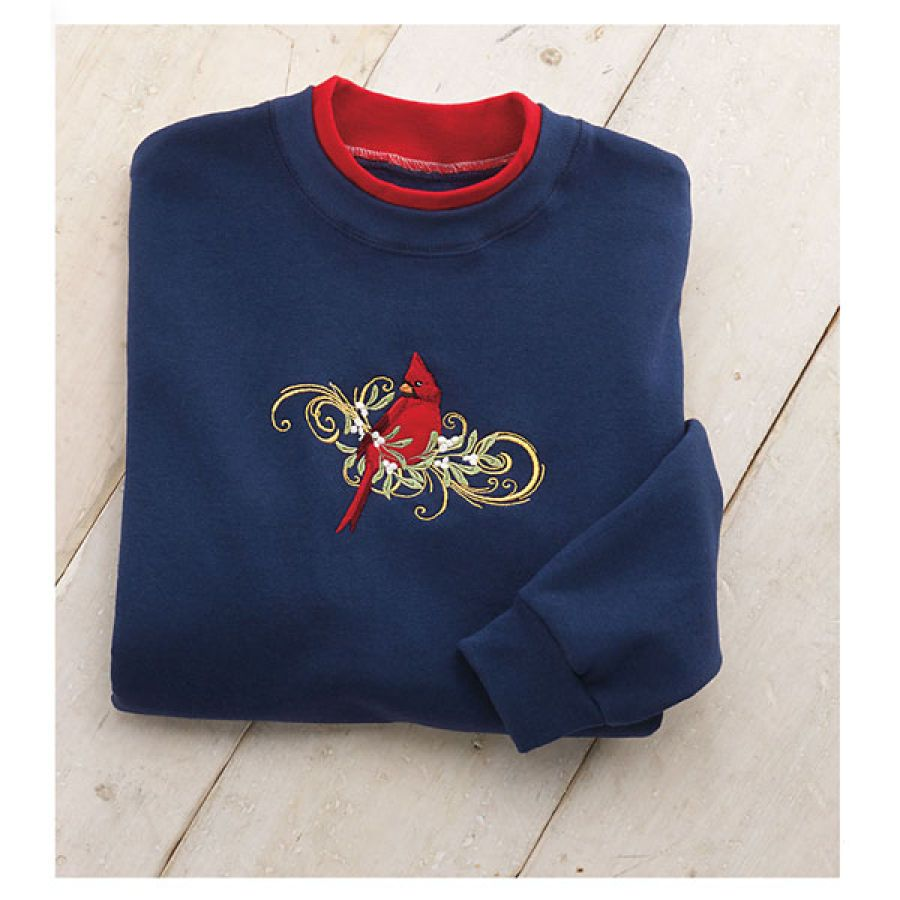 Amazing Christmas Gifts For Her: Embroidered Cardinal Sweatshirt
