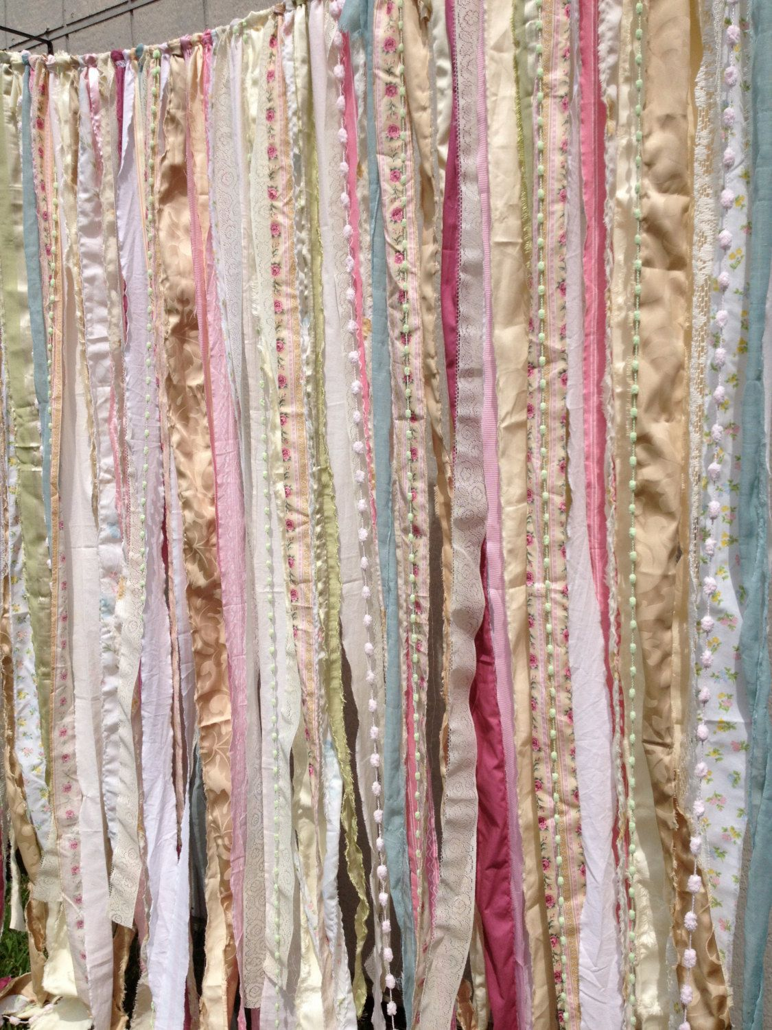 Shabby Rustic Chic Boho Fabric Garland Backdrop By OhMYcharley 9900 CurtainsShabby Shower