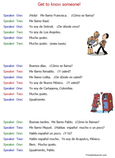 Printable Spanish Beginning Conversations Introductions Worksheets