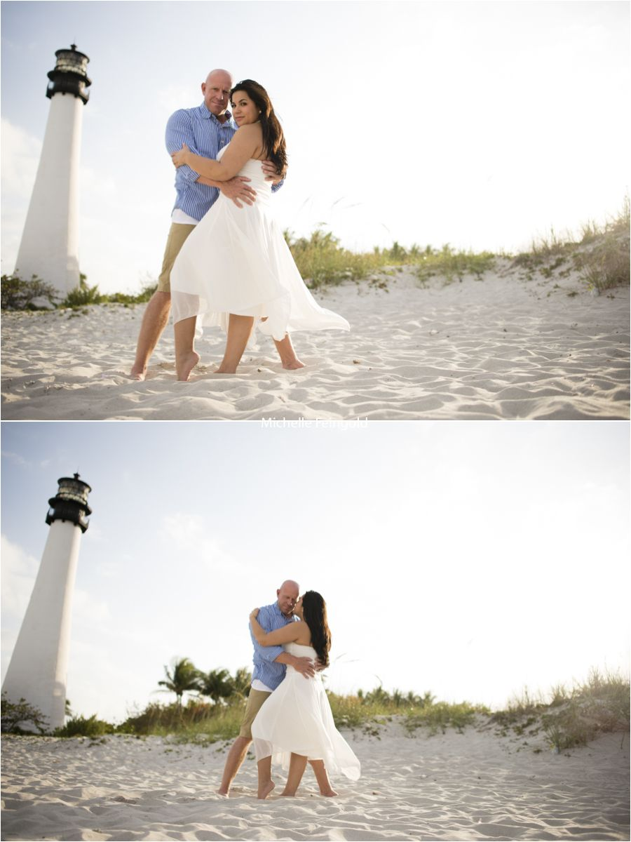 Engagement Session In Front Of A Lighthouse Backlight White Flowing Dress Bill Key Biscayne