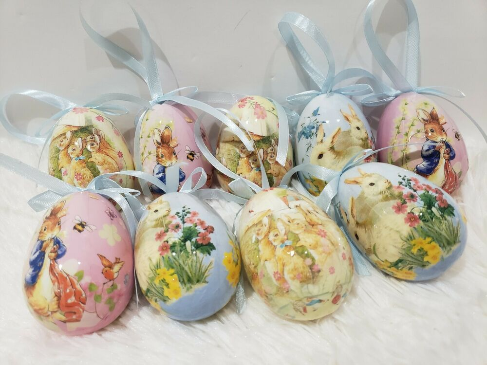 Vintage Style Hanging Easter Eggs Egg Ornaments Tree Decor Qty Of