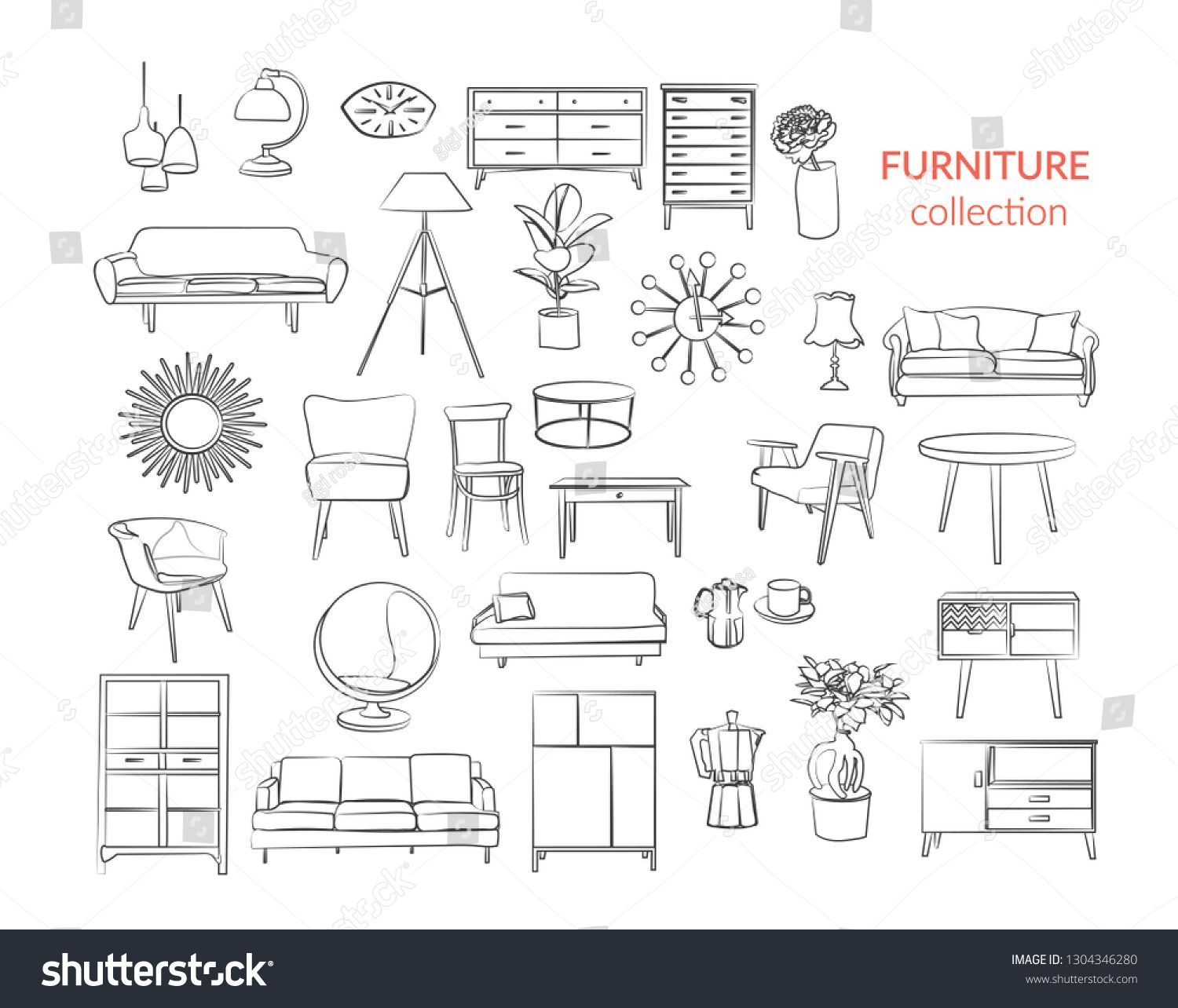 Furniture Collection Vector Interior Design Elements Outlined