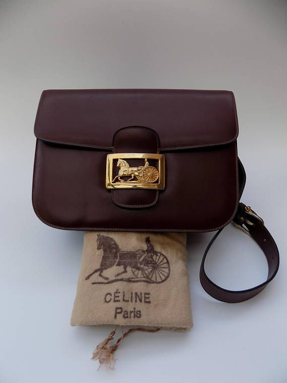 f1b981d4f5 CELINE Céline Vintage Burgundy Leather Box Horse Carriage bag ...
