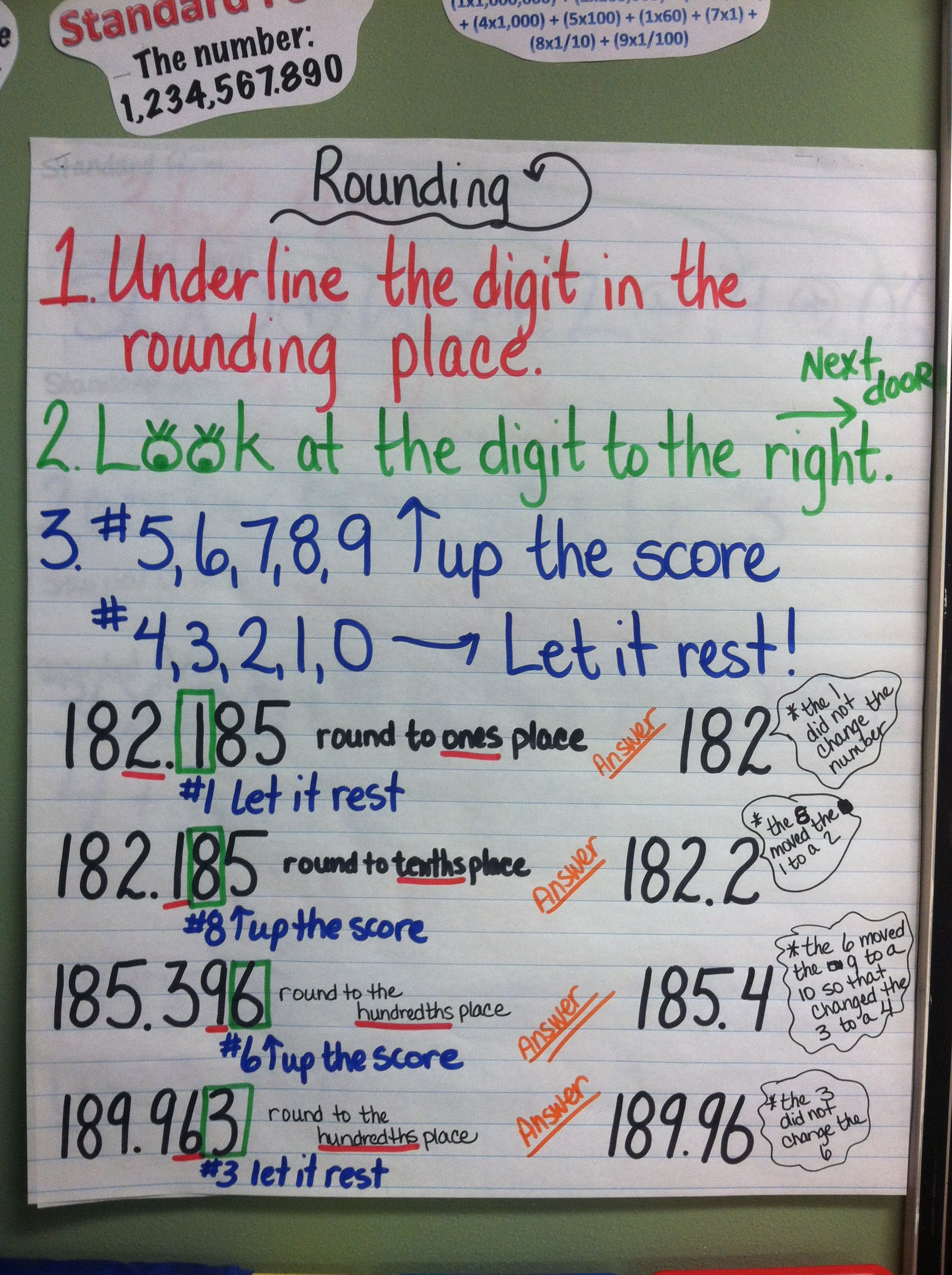 Rounding Place Value Anchor Chart Nearest Tenths And
