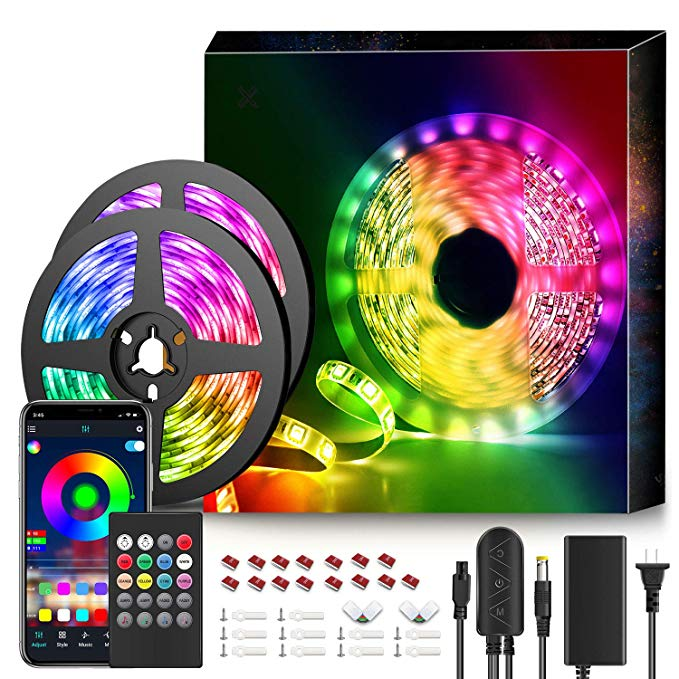 Amazon Com 50ft Led Strip Lights Music Sync Color Changing Rgb Led Strip 20 Key Remote Sensitive Built In Led Strip Lighting Strip Lighting Led Light Strips