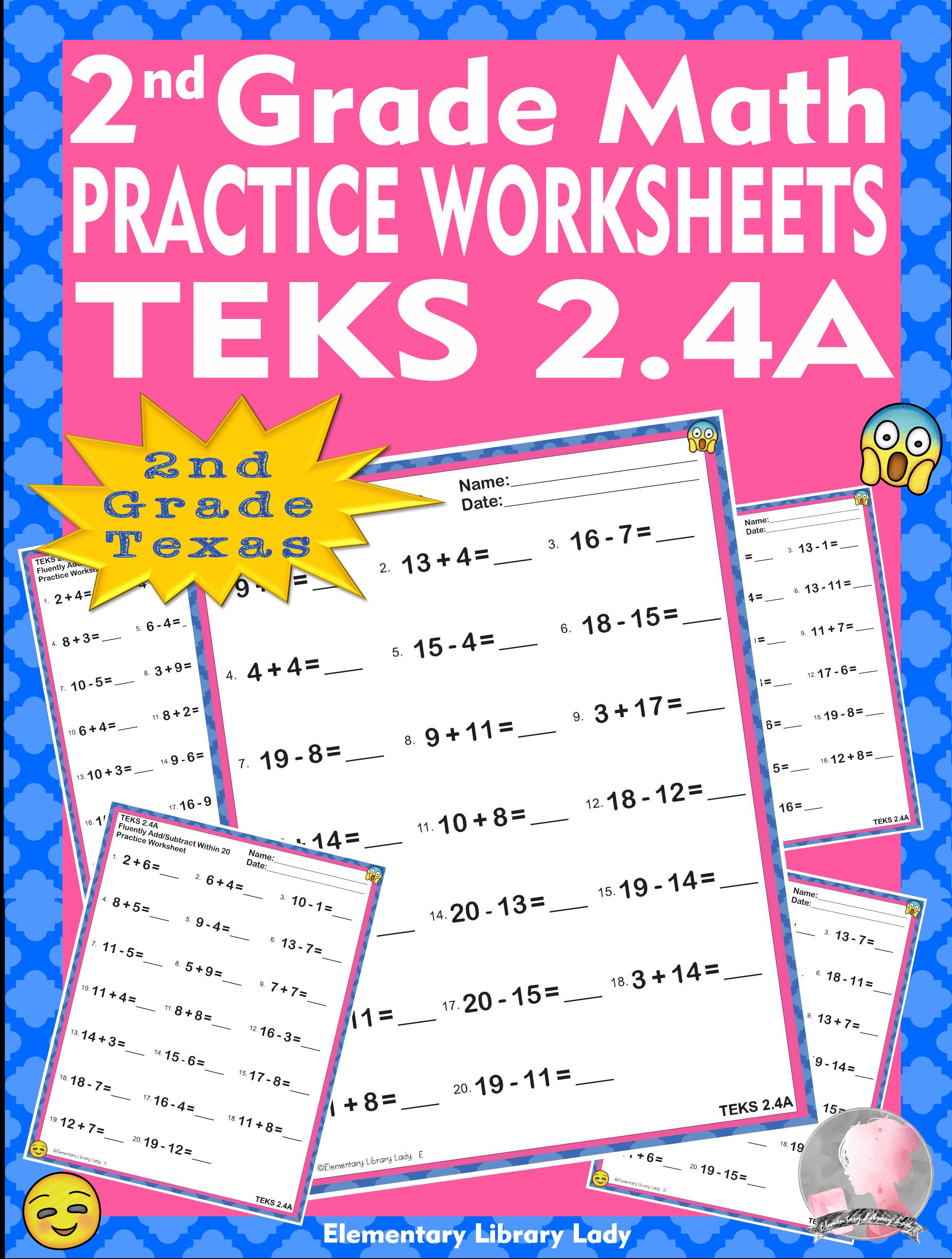 Math Teks 2 4a Texas 2nd Grade Practice Worksheets Add
