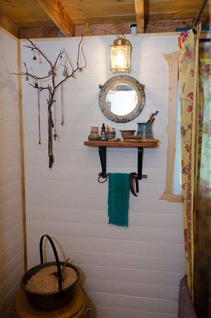 Love the tree branch idea for hanging jewelry. Tumbleweed Tiny Homes inspiration.