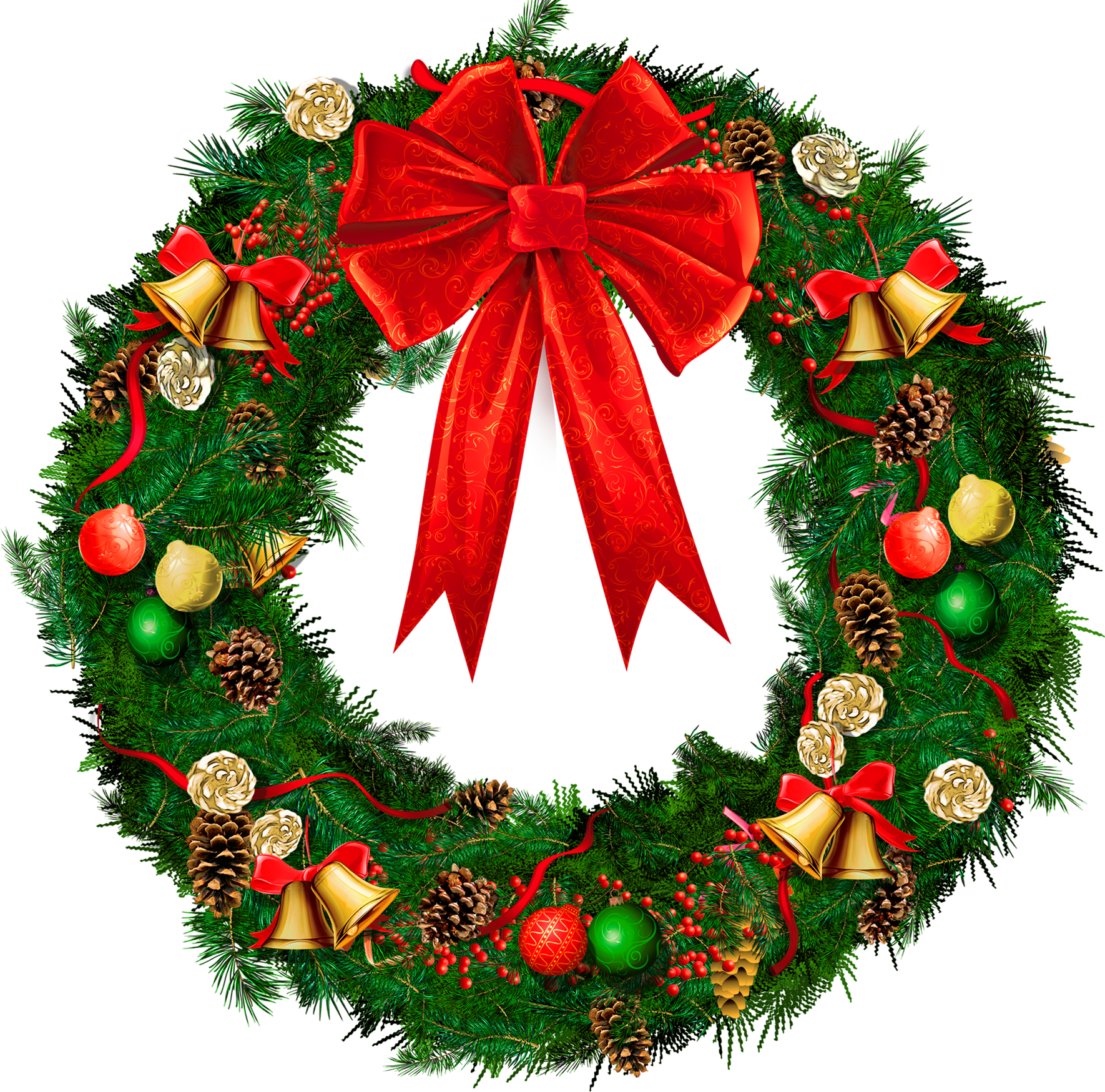 Transparent christmas wreath with red bow png picture Christmas wreath decorations