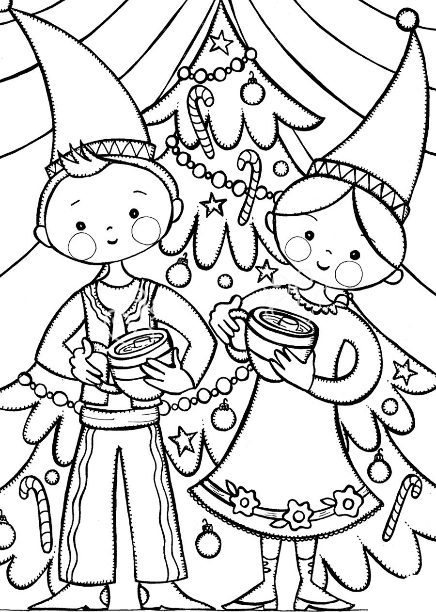 Gnome Kids Drinking Hot Chocolate Coloring Page | Printables ...