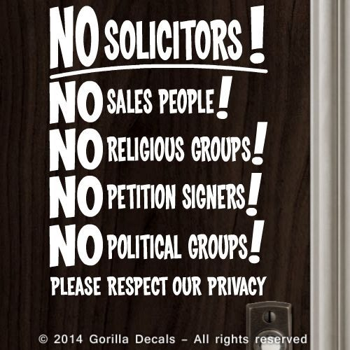NO SOLICITING Solicitors Decal Sticker Sign Trespassing Privacy Front Door BLK | eBay