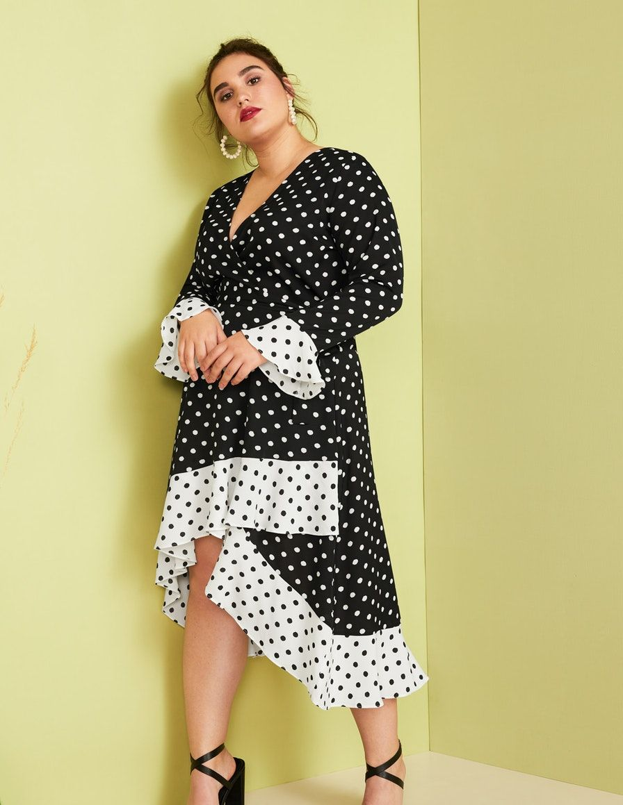 Annalisa Polka Dot Wrap Dress In Black White Plus Size Summer Dresses Wrap Dress Dresses [ 1159 x 896 Pixel ]