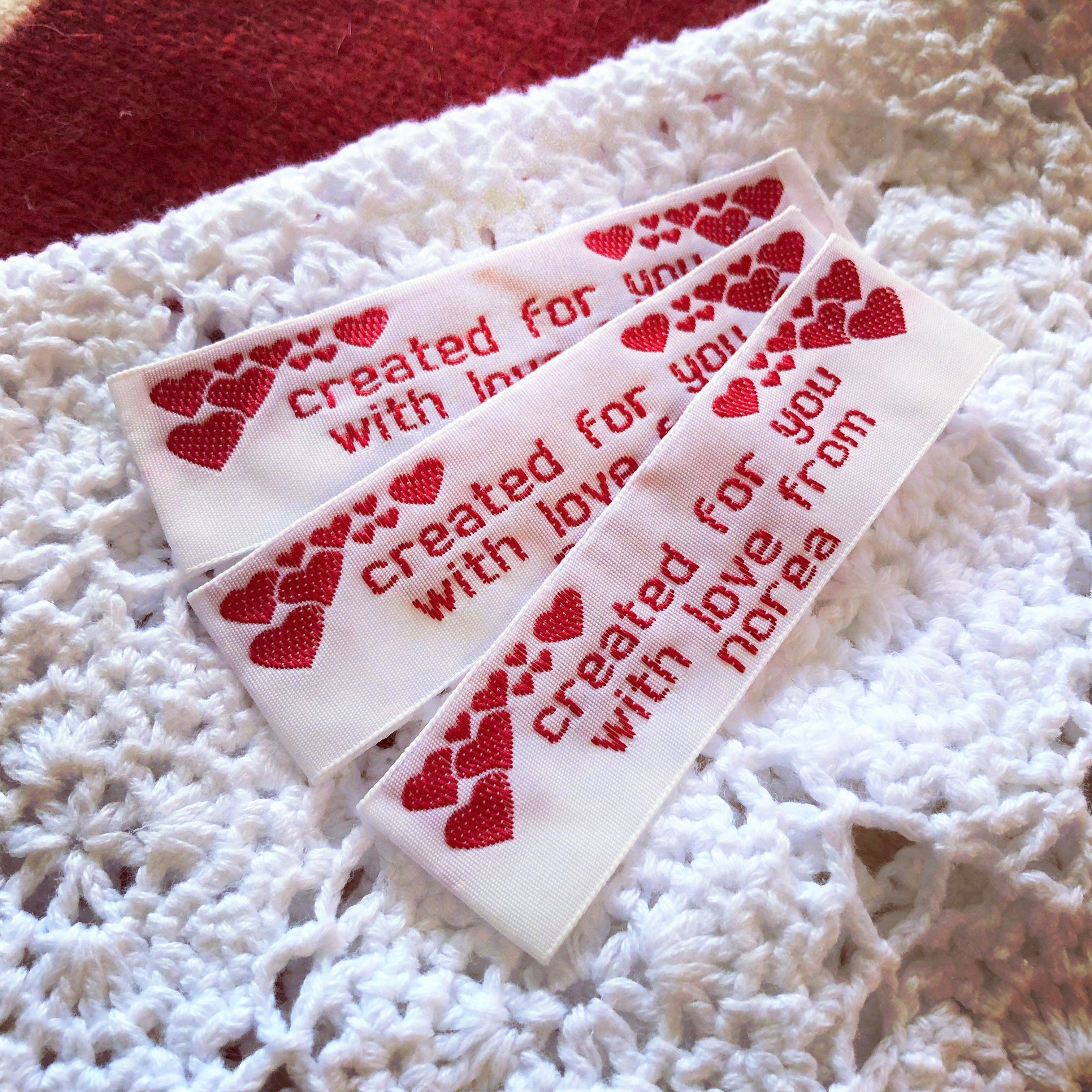 Handmade With Love Create Your Own Custom Fabric Sewing Labels With A Sweet Sentiment Lots Of Colors And Styles To Sewing Labels Sewing Fabric Custom Fabric