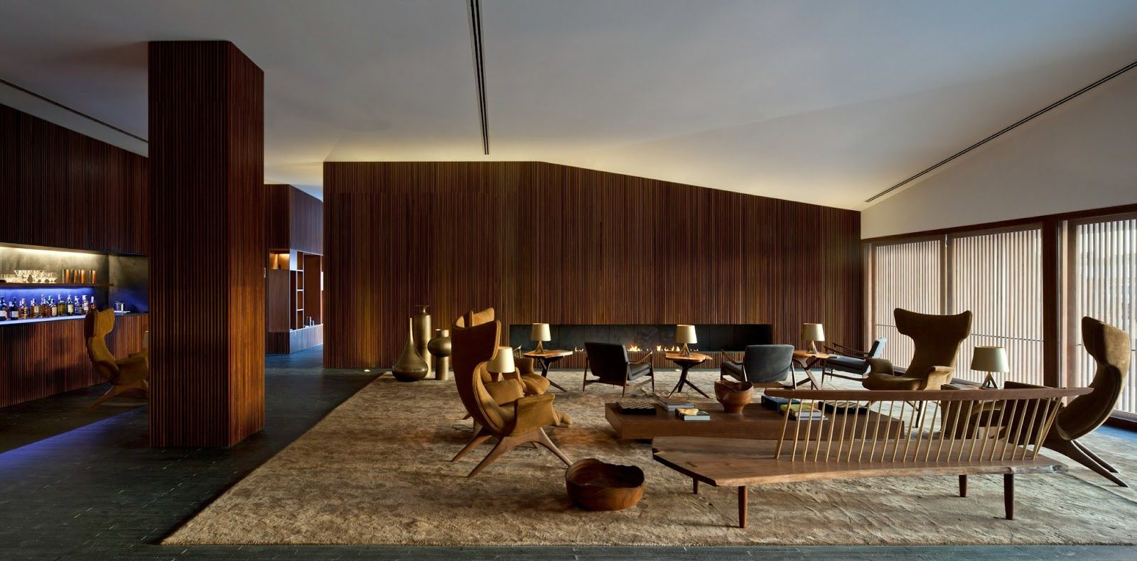 Yellow And Wood Lounge Design Hotel Interiors Interior