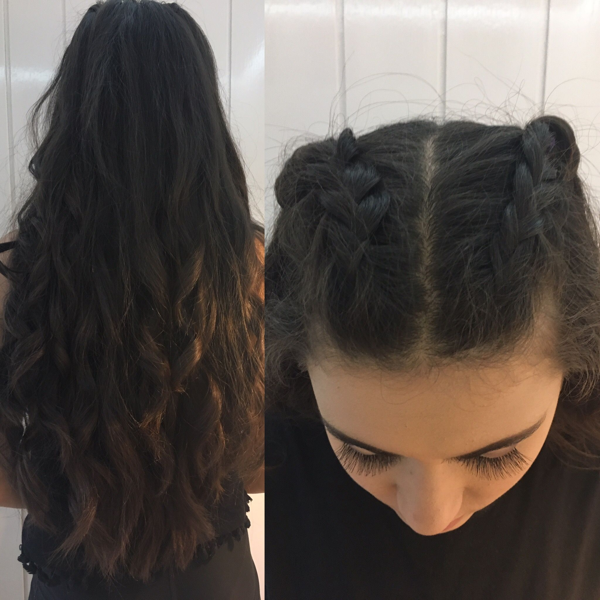 Prom Hair Two French Braids Only Done Half Way And Then The Rest Is Down And Curled Prom Hair Promh Two French Braids Debs Hairstyles Two Braid Hairstyles