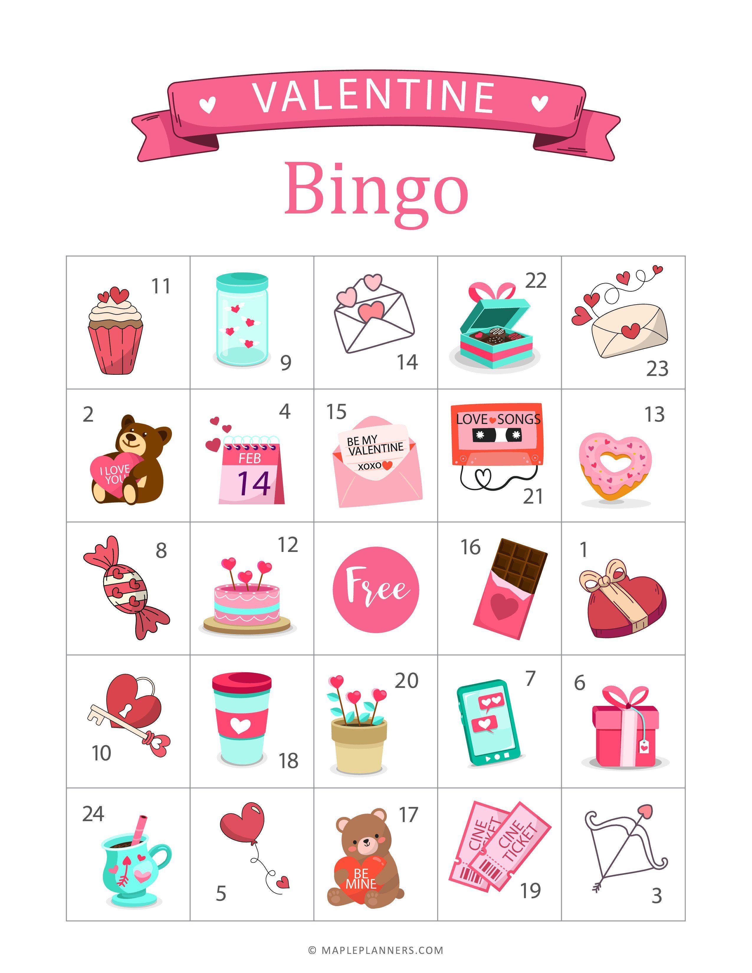 Valentine Bingo Game Printable In