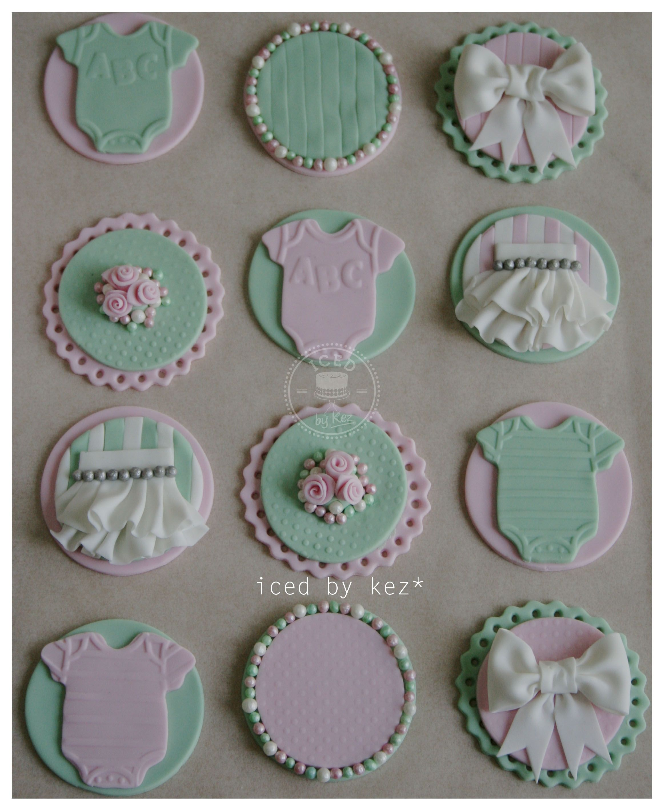 Baby Shower Cupcake toppers in Mint Green & Pink kez x