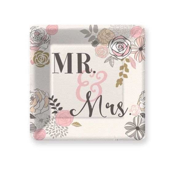 Mr u0026 Mrs Paper Plates Pkg 8 Wedding Plates Cake Plate by PartyHaus  sc 1 st  Pinterest & Mr u0026 Mrs Paper Plates Pkg 8 Wedding Plates Cake Plate by PartyHaus ...