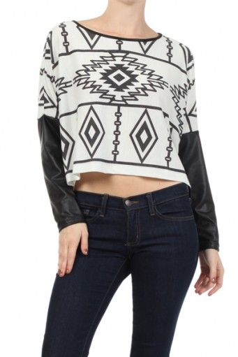 efc2e4ee18cfd Duo-fabric, Aztec tribal printed boat neck drop top with faux leather  sleeves. black and white