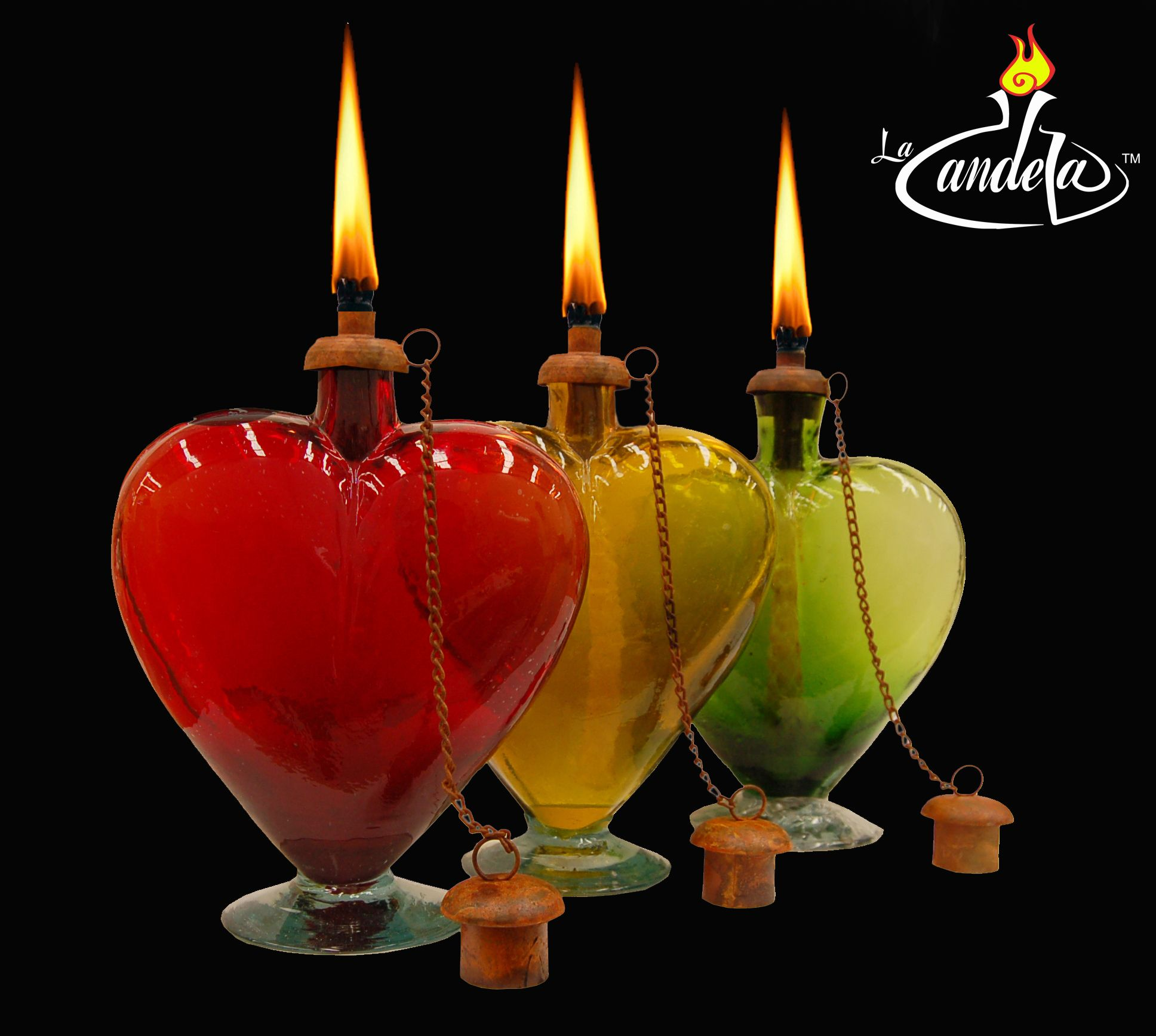 Hand blown glass torches.