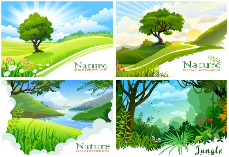 set of 4 vector nature landscape backgrounds with forests and jungle for your nature related